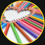 Series of colour pencials to represent content creation