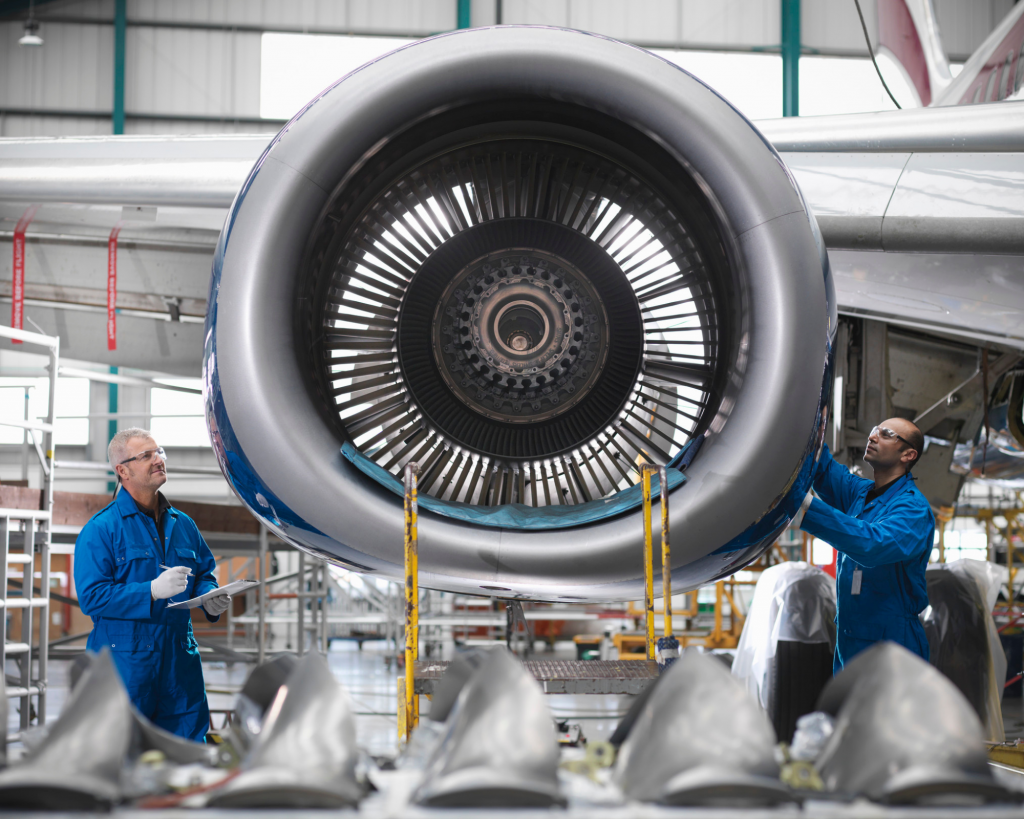 Airplane engine and workers to demonstrate aerospace technology