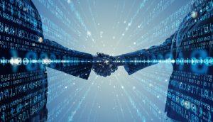binary code and handshake to represent corporate digital responsibility